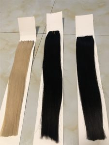 Blonde tape on extensions