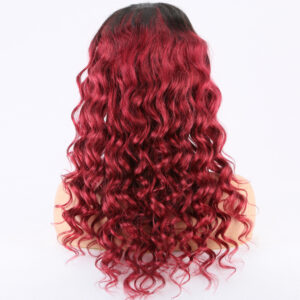 human hair lace front wigs, Burgundy wig