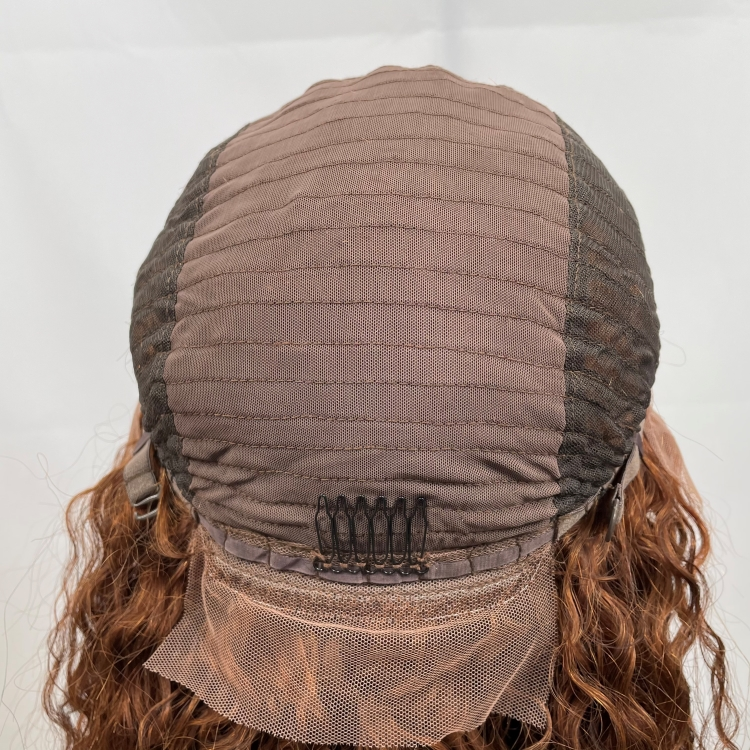 Lace front wig brown hair wet wavy