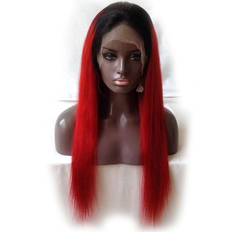 Red Lace Front Wig Black Roots